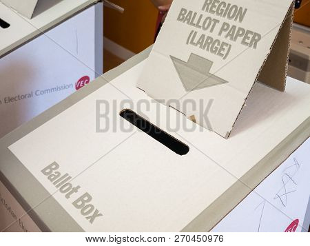 Melbourne, Australia - November 19, 2017: Ballot Box From The 2018 Victorian State Election, Located