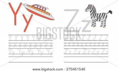 Writing Practice Of Letters Y,z. Education For Children. Vector Illustration