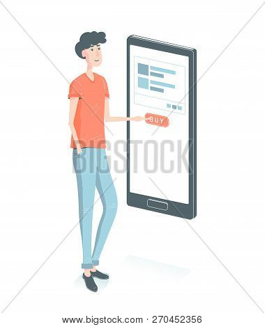 Online Shopping . Guy Buy Through The Mobile Phone Press The Button. M-commerc And E-commerce Concep