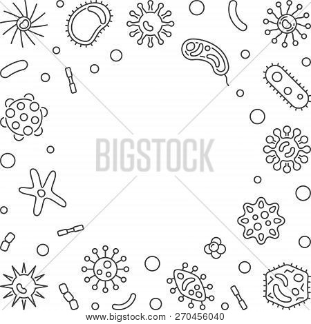 Human Microbiota Square Frame With Place For Your Text. Vector Concept Illustration In Thin Line Sty