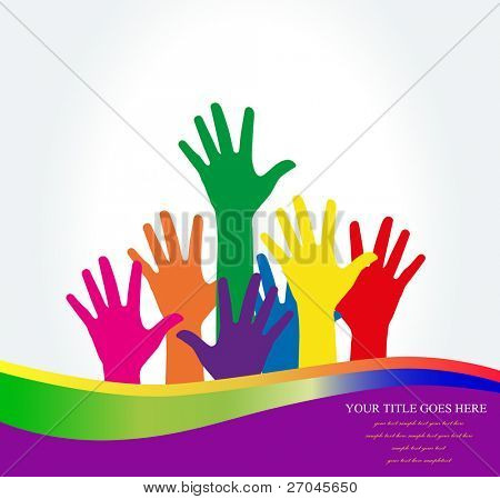 Foto de las manos levantadas.Ilustración de Vector