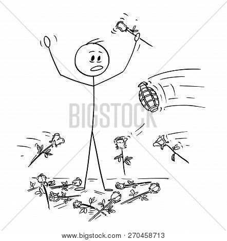 Cartoon Stick Drawing Conceptual Illustration Of Man On Stage To Who Was Given Standing Ovation And