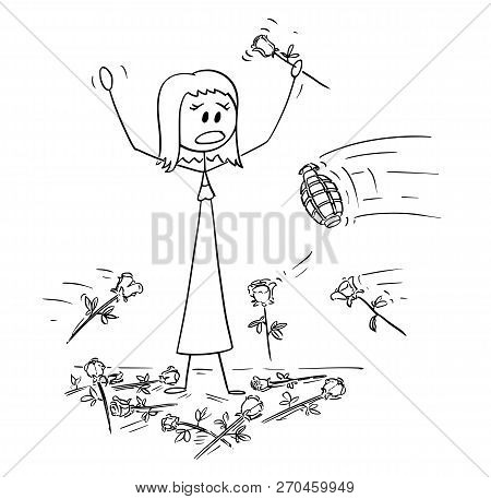 Cartoon Stick Drawing Conceptual Illustration Of Woman On Stage To Who Was Given Standing Ovation An