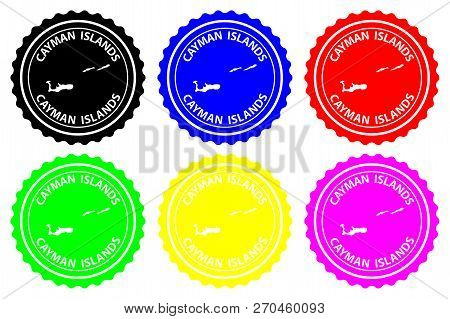 Cayman Islands - Rubber Stamp - Vector, Cayman Islands Map Pattern - Sticker - Black, Blue, Green, Y