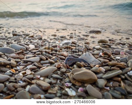 Beach Land Water Pebble Stone Rock Sea Solid No People Day Surface Level Selective Focus Large Group