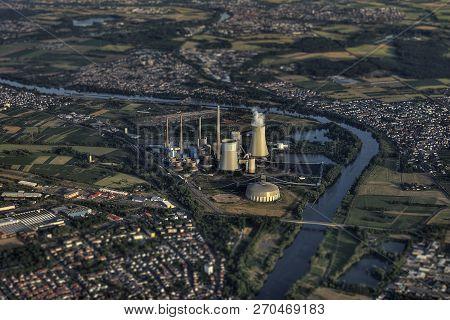 Aerial Of Grosskrotzenburg Power Station Main River Germany Hessen