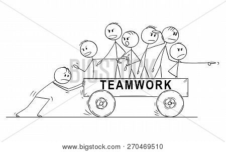 Cartoon Stick Drawing Conceptual Illustration Of Group Or Team Of Men Or Businessmen Riding On Cart