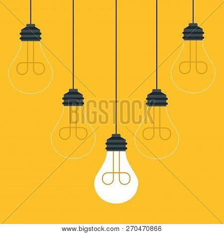 Set Of Hanging Light Bulbs With One Glowing. Trendy Flat Vector Light Bulb Icons With Concept Of Ide