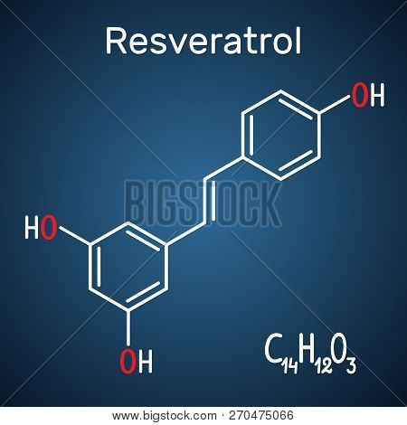 Resveratrol molecule. It is natural phenol, phytoalexin, antioxidant. Structural chemical formula and molecule model on the dark blue background. Vector illustration poster