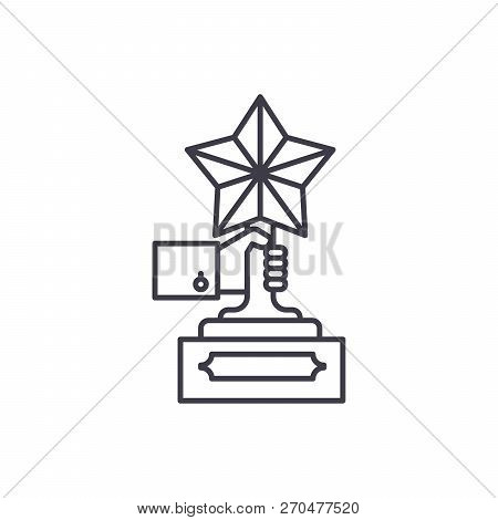 Achievement Award Line Icon Concept. Achievement Award Vector Linear Illustration, Symbol, Sign