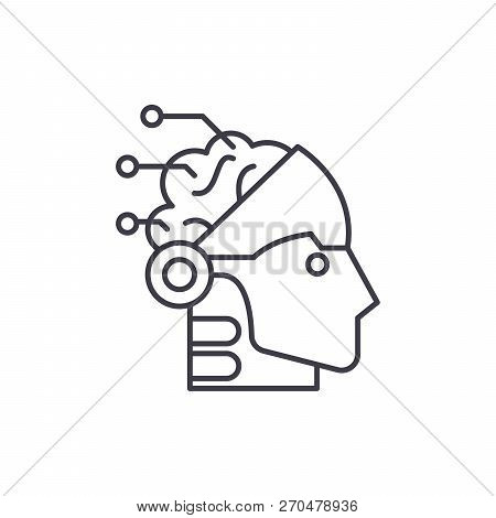 Artificial Intelligence And Robotics Line Icon Concept. Artificial Intelligence And Robotics Vector