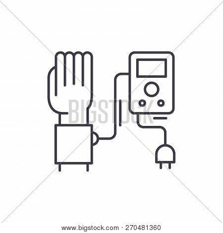 Blood Pressure Measurement Line Icon Concept. Blood Pressure Measurement Vector Linear Illustration,