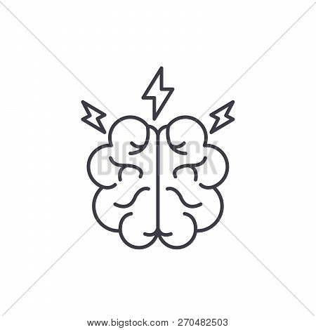 Brainstorm Line Icon Concept. Brainstorm Vector Linear Illustration, Symbol, Sign
