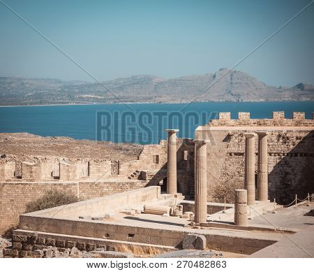 View On Several Pillars Of Lindos Acropolis On Rhodes