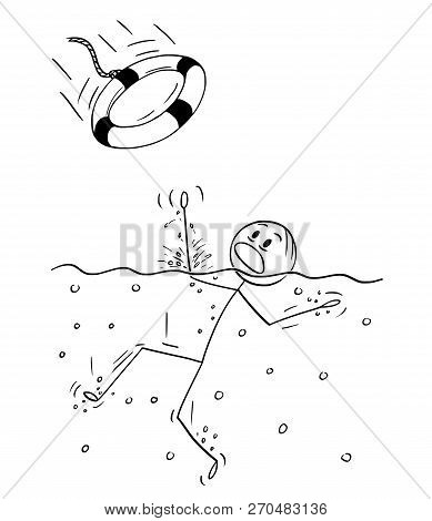 Cartoon Stick Drawing Conceptual Illustration Of Man Drowning On Water, But Someone Throw Him A Life