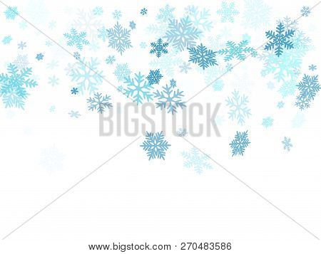 Winter Snowflakes Border Cool Vector Background. Macro Snow Flakes Flying Border Illustration, Card
