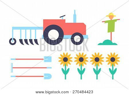 Scarecrow And Tractor Agrimotor Set Of Icons Closeup. Automobile With Farming Plough And Spade Sunfl