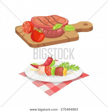 Beefsteak And Skewer Isolated Icons Vector Set. Roasted Cooked Well Done Meat Served On Wooden Board