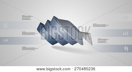 3D Illustration Infographic Template With Round Pentagon Divided To Five Parts