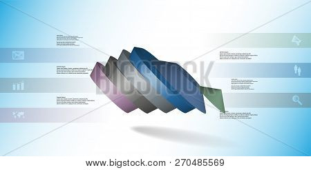 3D Illustration Infographic Template With Round Pentagon Divided To Six Parts