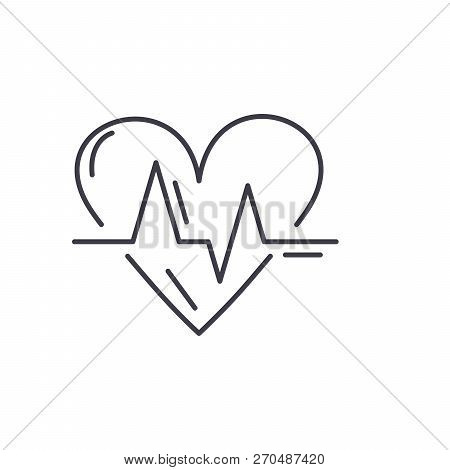 Cardiology Line Icon Concept. Cardiology Vector Linear Illustration, Symbol, Sign