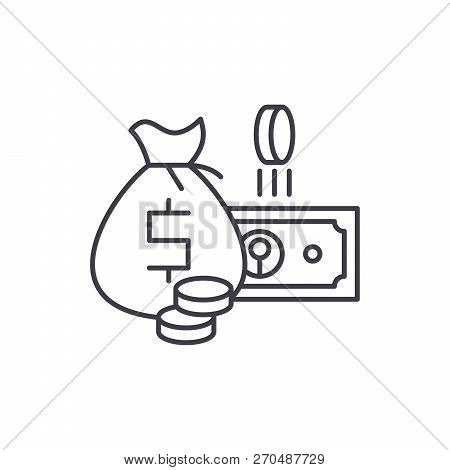 Cash Money Line Icon Concept. Cash Money Vector Linear Illustration, Symbol, Sign