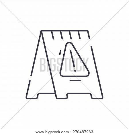 Caution Signpost Line Icon Concept. Caution Signpost Vector Linear Illustration, Symbol, Sign