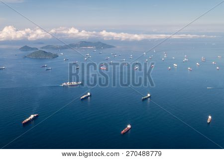 Panama City, Panama - September 25, 2015: Cargo Ships Waiting To Cross Panama Canal.