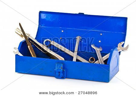 A set of tools in blue toolbox - isolated on white background.