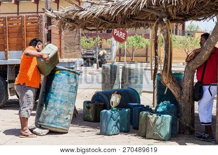 Uribia, Colombia - August 23, 2015: View Of A Stall Selling Cheap Petrol In Uribia. This Town Is Loc