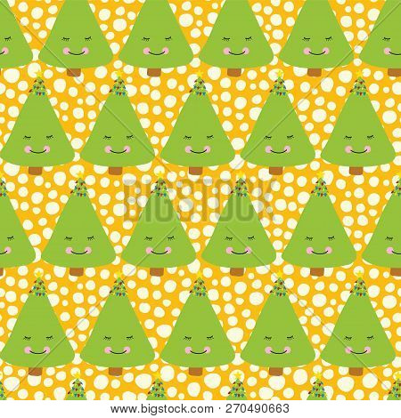 Christmas Trees With A Face. Kids Fun Christmas Pattern. Seamless Christmas Vector Pattern. Fun Chri