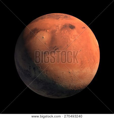 Mars Planet Isolated with Sunlight Illumination on Black Background. 3D Illustration. Surface Texture By NASA.