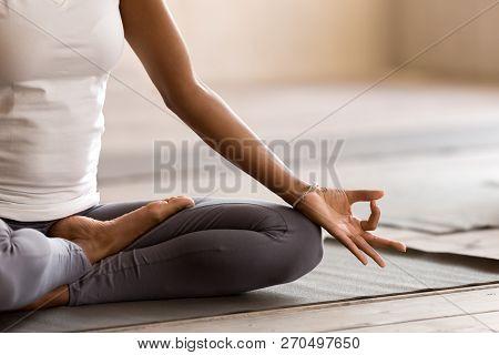Yogi Black Woman Practicing Yoga Lesson, Doing Ardha Padmasana E