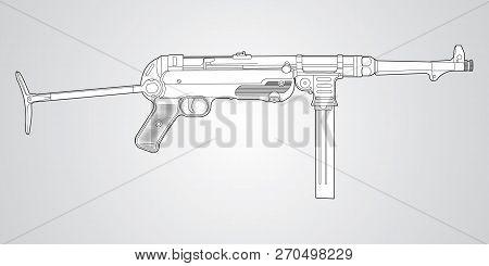 Vector Black And White Illustration Of Mp 40 Submachine Gun