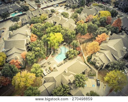 Filtered Image Aerial View Apartment Building Rental Housing Subdivision In Fall Season