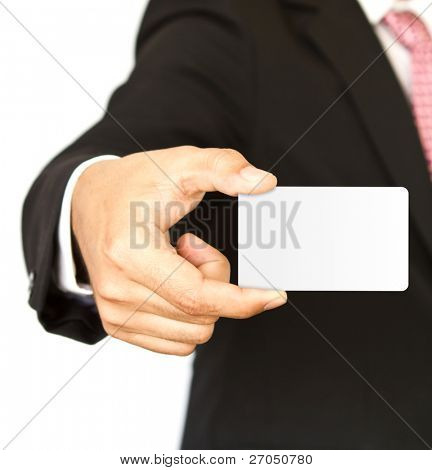 Business man with empty card in hand