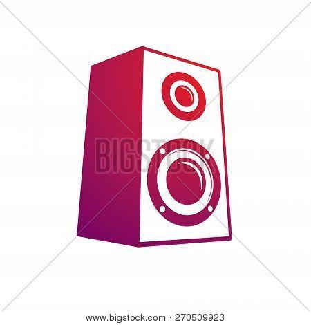 Subwoofer Vector Illustration, Musical Equipment, Column. Discotheque Amplifier, Hi-fi Device.