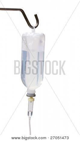 Infusion bottle with IV solution  on white background with copy space.