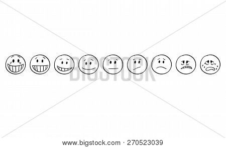 Cartoon Stick Drawing Conceptual Set Of Illustrations Of Emoticon Faces Showing Range Of Emotions Fr