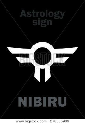 Astrology Alphabet: Orphan planet NIBIRU, The Rogue planet of Anunnaki (Aliens, the Ancient astronauts). Hieroglyphics character sign (single symbol). poster