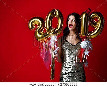 Women Celebrating New Year Party Happy Laughing In Silver Casual Dress With Christmas 2019 Gold Ball