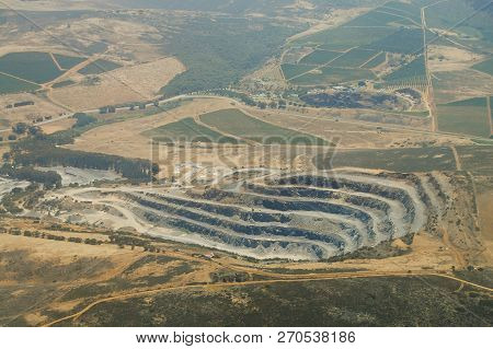 Aerial View Of Open Pit - South Africa