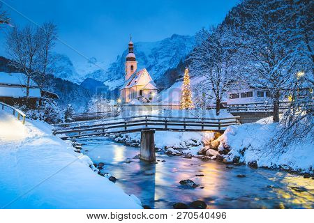 Beautiful Twilight View Of Sankt Sebastian Pilgrimage Church With Decorated Christmas Tree Illuminat