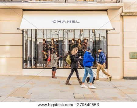 London. November 2018. A View Of The Chanel Store On New Bond Street In Mayfair In London
