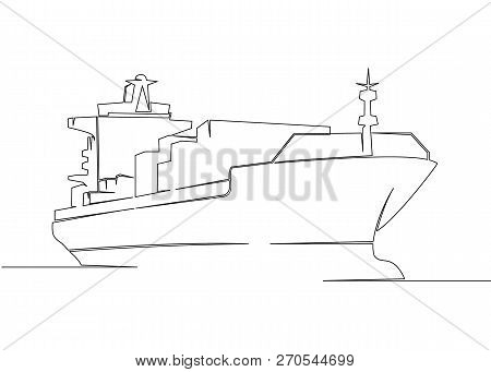 One Continuous Drawn Single Art  Line  Doodle  Drawing  Sketch Cargo Transport Ship. Concept Of Glob