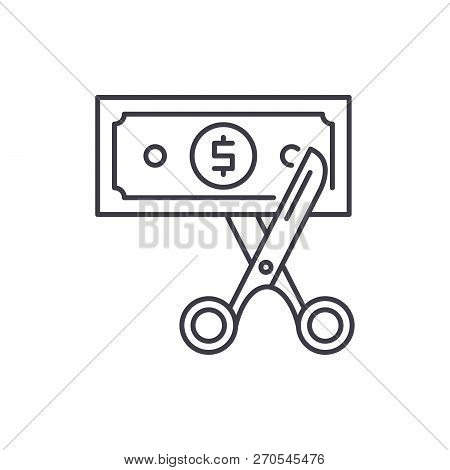 Cost Optimization Line Icon Concept. Cost Optimization Vector Linear Illustration, Symbol, Sign