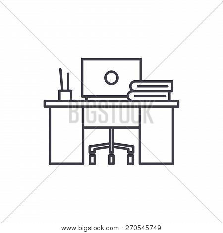 Coworking Line Icon Concept. Coworking Vector Linear Illustration, Symbol, Sign
