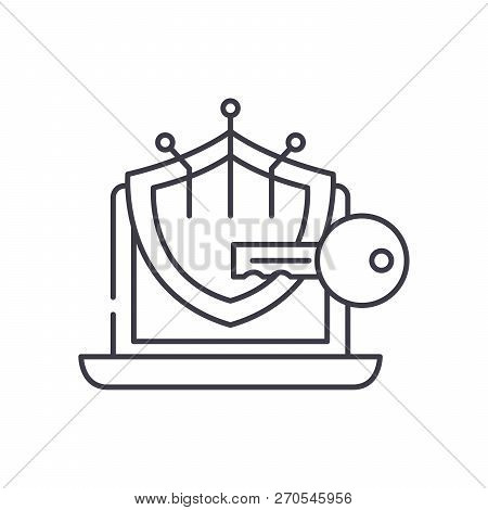 Cryptography Line Icon Concept. Cryptography Vector Linear Illustration, Symbol, Sign