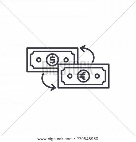 Currency Exchange Line Icon Concept. Currency Exchange Vector Linear Illustration, Symbol, Sign