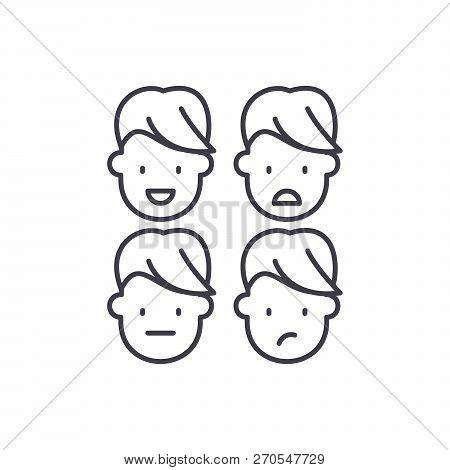 Emotional Intelligence Line Icon Concept. Emotional Intelligence Vector Linear Illustration, Symbol,